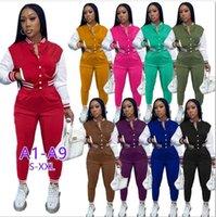 Женщины Scestsuits Двухструктурные набор дизайнер осенний бейсбол униформа куртки для спортивных штангой наряды с удисей