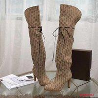 Designer Mulheres Botas Top Quality Genuíno Couro Vermelho Bege Canvas sobre o zíper de Boot do joelho Laces moda luxo de salto alto das mulheres Marca sapatos casuais