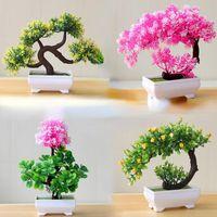Decorative Flowers & Wreaths Multicolor Bonsai Artificial Plants Small Tree Art Home garden Party desk Deco Fake Potted Craft Supplies 1pc