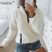 Nadafair 2021 겨울 솜털 스웨터 캐주얼 양털 따뜻한 대형 스웨터 여성 Fuax 모피 크리스마스 풀오버 겨울 코트 숙녀