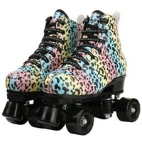 Inline & Roller Skates 2021 Skating Shoes Flash Pu Wheel Sneaker Patines Lace-Up Artificial Leather Adult Double Row