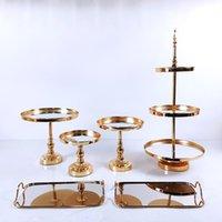 Other Bakeware 4-7PCS Gold Mirror Metal Cake Stand Round Wedding Birthday Party Dessert Cupcake Pedestal Display Plate Home Decor