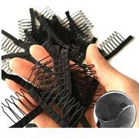 Peruk Tarak Dayanıklı Polyester Kumaş Ile 7 Diş Peruk Aksesuarları Saç Uzatma Tarakları 10-100 adet Toptan Siyah Dantel Peruk Klipler Araçları