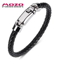 Charm Bracelets MOZO FASHION 2021 Bracelet Genuine Leather Rope Spring Buckle Braided Punk Rock Men Casual Jewelry Gifts 1073