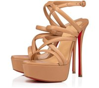 Verano Alta Red Bottom Zapatos Sandalias Strapegrafías Tacones altos Tacones de cuero Nudío Negro Designer de lujo Lady Gladiator Plataforma Bombas EU35-43
