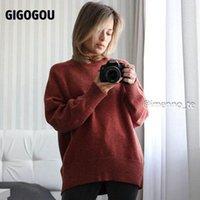 Женские свитера Gigogou свитер женщины 2021 Turtleneck сплошной пуловер Корейский стиль повседневная свободная с длинным рукавом вязаные перемычки