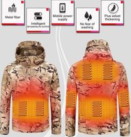 Outdoor T-Shirts Winter Electric Heating Jacket USB Smart Men Women Thick Heated Jackets Camouflage Hooded Heat Hunting Ski Suit