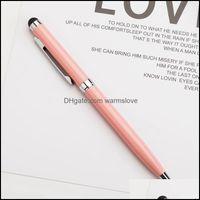 École de bureau industriel industriel2 dans 1 écran tactile en métal durable de 1,0 mm stylo stylo stylo or stylo stylos bille stylos écriture fournitures cadeau publicitaire