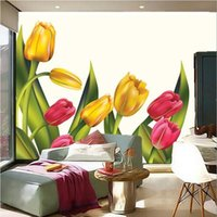 Bacal Custom 3D Bright And Beautiful Tulip Oil Painting Murals Papel De Parede El TV Wall Bedroom Flower Wallpaper Huda Wallpapers