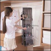 Bins Housekee Organization Home & Garden6 8 Pocket Folding Handbag Storage Boxes Purse Clear Holder Anti-Dust Organizer Rack Hook Hanger1 71