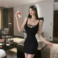 Casual Dresses Solid V-neck Sleeveless Korea Women Night Club Party Skinny Slim Fit Elegant Ladies Bodycon Sexy Dress Clothes