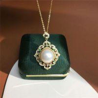 European Royal Victoria Style Neckalce 925 Sterling Sier Diamond Frame Dign Zircon Frhwater Pearl Pendant Necklace Jewelry