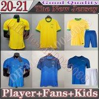 20/21 Neymar JR Copa America Brasil 축구 유니폼 2021 Paulinho G.Jesus P.Coutinho D.Costa Willian Fsan 플레이어 버전 아동 셔츠 축구 유니폼