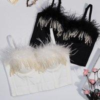 Tanks Femmes Camis Gradient Pluent Tube Top Top Sexy Femmes Culture Perle Perle Splice Corset Tops Tops Street Sling Slim Camisoles