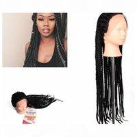 Twist Lace Wig Caja sintética trenzas pelucas Kanekalon Hair Ganchillo trenzas Pelucas sintéticas negras Pelucas trenzadas para mujeres negras Marley Twist Hair