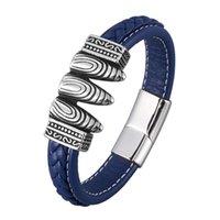 Bracelete de couro trançado azul para homens ímã de aço inoxidável clasp pulgles punk rock masculino pulseira jóias presente sp0903 charme bracel bracel