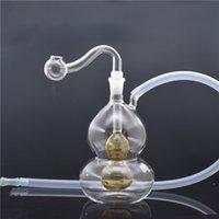 Mini Glass Beaker Bongs With 10mm male oil burner pipe Cheap Glass oil burner bong inline Gourd shape matrix perc with hose