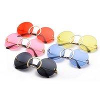 Moda Benzersiz Burun Halkası Yuvarlak Güneş Kadınlar Vintage Çerçevesiz Temizle Okyanus Lens Gözlük Erkekler Güneş Gözlükleri Shades UV400