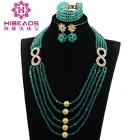 Earrings & Necklace Fashion Teal Green Beads Jewelry Sets 8 Shaped Gold Accessory Wedding Party Women Jewel Set Mother's Day Gift WE029