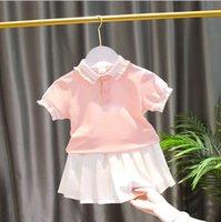 Одежда для девочек Летние Дети поло с коротким рукавом футболка + белая юбка 2шт костюм детская одежда для 1-7 лет детские наряды