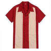 Camisolas masculinas verticais camisa listrada homens designer camisas vermelhas de manga curta retrô Botão de boliche de algodão