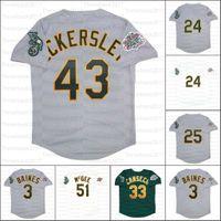 레트로 야구 1989 년 및 1990 회색 유니폼 3 해롤드 베인즈 33 Jose Canseco 43 Eckersley