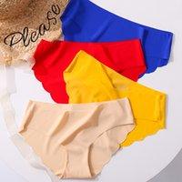 Seamless Panties For Women Wavy Edge Sexy Female Underwear Ice Silk Ladies Satin Briefs Solid Panty Underpants Panty