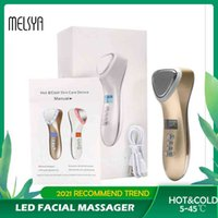 LED Face Beauty Massager Hot Cold Hammer Ultrasonic Cryotherapy Facial Lifting Massager Face Body Spa Ion Beauty Instrument Q0607