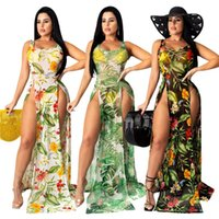 Bikini Dresses Smock Plant Printed High-waist Sleeveless Beach Long Dress Cover-Ups Ladies Sundress Women's Swimwear