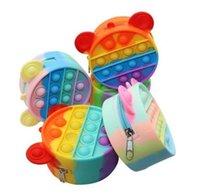 DHL Fast Fidget Brinquedos Favorecer Moda sensorial Desenhos animados Moeda Moeda Bolsa Bubble Arco-íris Anti Stress Educacional Crianças e Adultos Descompression Toy Surpreenda CS07