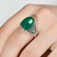 Cluster Rings Real 925 Sterling Silver For Women With Natural Green Agate Stone 6 Setting Beautiful Fine Jewelry Bague Femme