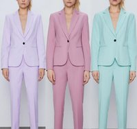 Pink Autumn Women Pant Single Button Blazer Jacket+Zipper Trousers Office Ladies Suits Two Piece Set Female Outwear Women's & Blazers