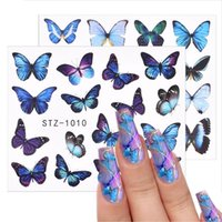 Stickers & Decals 3D Watercolor Butterflies Sliders Nail Art Water Transfer Decal Sticker Blue Valentine's Day Decoration Tattoo Manicure