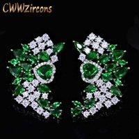 عالية الجودة druzy مكعب زركونيا كبير مصمم الأخضر مربط للنساء الفضة اللون تشيكوسلوفاكيا مجوهرات اكسسوارات CZ395 210714
