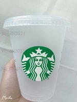 Starbucks 16oz ozoz Tumblers Tasses Plaque de jus de boisson en plastique avec la lèvre et la paille Magic Tasse Costom Transparent Coupe 50 PCS DHL Transport