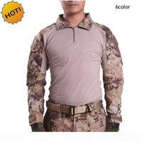 Wholesale ESDY Outdoor Brand Camouflage Long Sleeve Frog Suit Men Tops Tactical Tool Cargo t Shirt Army Military Combat Tee 7 Color