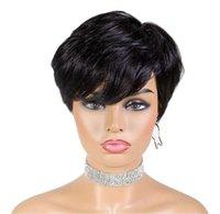 Ali Queen Pixie는 스트레이트 가발 브라질 레미 인간의 머리 가발 기계 짧은 가발을 만든 브라질 레미