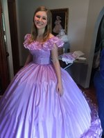 Lavender Ball Gown Quinceanera Dresses Off Shoulder Big Bow Floor Length Ruffles Sash Prom Party Gowns for Sweet 15 Celebrity Wear for Girls