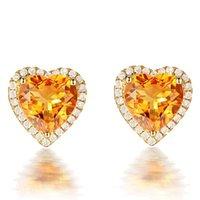 3 carati citrino pietre preziose giallo orecchini per borchie di cristallo per donne femme zircone diamante 18 carati color oro gioielli di lusso regalo cuore