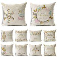 Cushion Decorative Pillow Christmas Decoration Cushion Cover Cartoon Elk Printing Pillowcase Cotton Linen Sofa Bedroom Home Decor