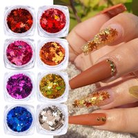Maple Leaf Fall Thanksgiving Nails Stickers Decal DIY Colored Sequins Laser Nail Art Glitters Thin Flakes Sticker Colorful Confetti