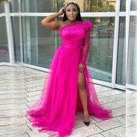 밝은 자홍색 이브닝 가운 환상 슬리브 긴 분할 얇은 얇은 핑크 이브닝 드레스 메쉬 Vestido de Festa