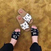 Woody البغال الصنادل النعال شقة 2021 العلامة التجارية النساء أزياء فتاة حروف النسيج في الهواء الطلق الجلود وحيد الشريحة صندل لصيف يوم 35-41