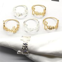 6PCS  Letter Bismillah Metal Gold And Silver Napkin Ring For Table Decoration Wedding Banquet Prayer Family Gathering Rings
