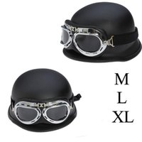 Motorcycle Helmets DOT Approved Retro Helmet WWII Big German Half Scooter Cross Country Motorbike Casco With Goggles Rider