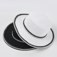 Wide Brim Hats France Style Straw Visor For Women Uv Protection Cover Fisherman Pearl Crochet Bucket Hat Beach Accessories