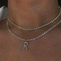 Designer Necklace Fashion 26 Alphabet Rhinestone Pendant for Women Luxury Shiny Letter Crystal Chain Wedding Jewelry Party Gift