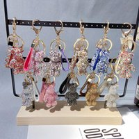 Dibujos animados creativo brillante oso de diamante borla llavero colgante lindo hombres y mujeres bolso llavero Llavero regalo lindo para niña OWA4920