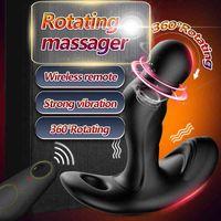 360 ° rotante per la prostata massaggiatore scroto vibratore anale tappo anale telecomando tappo a testa tappo per adulti erotici giocattoli del sesso per uomo gay 201216