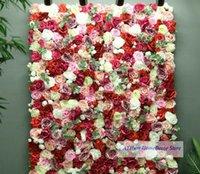 Flammenrose Elfenbein Blumenbrett Künstliche Pflanze 3D Wand Hintergrund Hochzeit PO Party Dekoration Dekorative Blumen Kränze